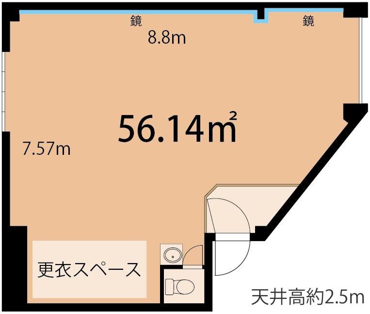 港区 六本木 ダンススタジオ 図面 東京 レンタルスタジオの図面
